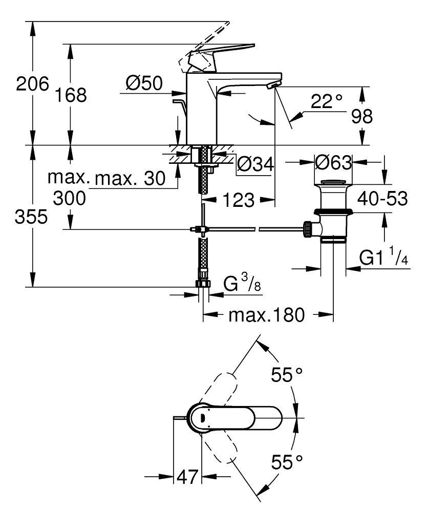 Bekannt Grohe Eurosmart Cosmopolitan Einhand-Waschtischbatterie, 1/2″ M-Size FV53